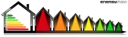 Energy Efficiency - 3D illustration of a symbol in the shape of houses with energy efficiency rating. Isolated on white background Stock Photo