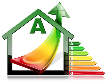 3D illustration of a symbol in the shape of house with energy efficiency rating and an arrow with energy saving. Isolated on white background Stock Photo
