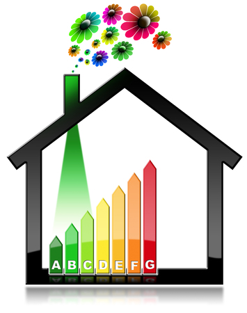 Energy Efficiency - 3D illustration of a symbol in the shape of house with energy efficiency rating and flowers. Isolated on white background Stock Photo