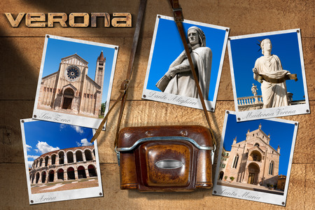 dante alighieri: Old and vintage camera with leather case and five photos of Verona (UNESCO world heritage site), Veneto, Italy Stock Photo