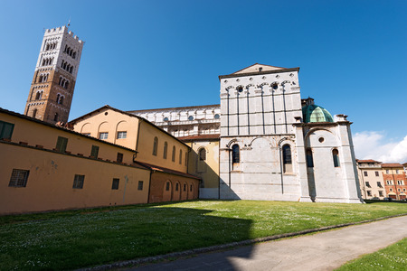 Cathedral of San Martino (Saint Martin), in romanesque gothic style - XI century, in the ancient town of Lucca, Toscana (Tuscany), Italy, Europe Stock Photo