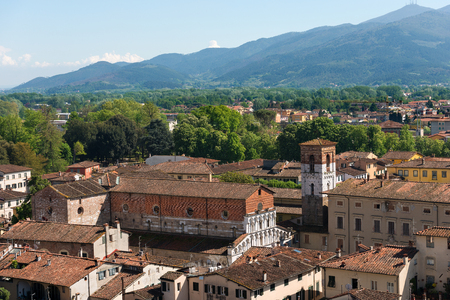 Aerial view of the town of Lucca, Toscana (Tuscany), Italy, with the church of Santa Maria Forisportam (XII century). View from the Guinigi tower