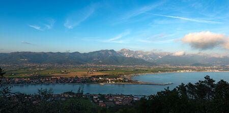 Versilia Coast with the Magra river, the Ligurian sea, the Apennines and the Apuan Alps. Tuscany, Liguria, Italy