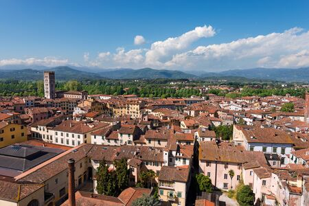Aerial view of the small medieval town of Lucca, Toscana (Tuscany), Italy, Europe. View from the Guinigi tower