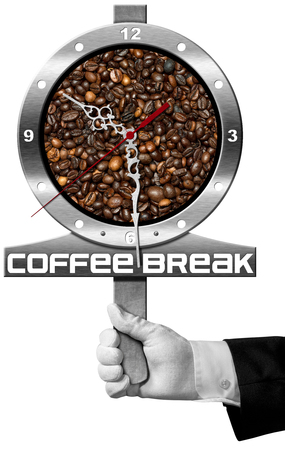 seconds: Coffee Break - Hand of a waiter holding a metal signboard with roasted coffee beans and a clock. Isolated on white background Stock Photo