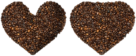 heart shaped: Two heart shaped symbols with toasted coffee beans. Isolated on white background. Love Coffee Stock Photo