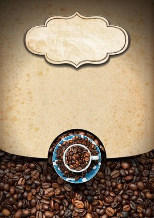 Vertical template for a coffee house with a label with copy space, roasted coffee beans and a cup