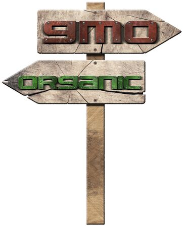 3D illustration of two wooden directional signs with text GMO (genetically modified organism and Organic isolated on white background