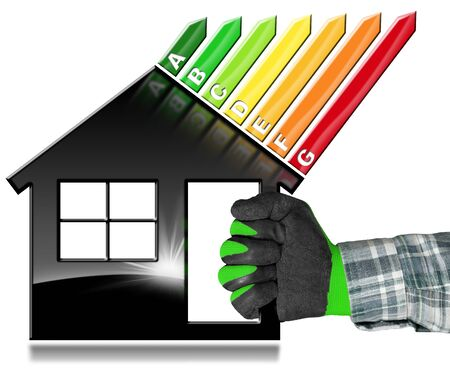 Hand with work glove (photo) holding a black symbol in the shape of a house (3d illustration) with energy efficiency rating. Isolated on white background