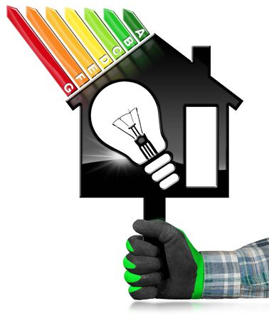 Energy Efficiency - 3D illustration - Hand with work glove (photo) holding a symbol in the shape of house with energy efficiency rating and a light bulb. Isolated on white background Stock Photo