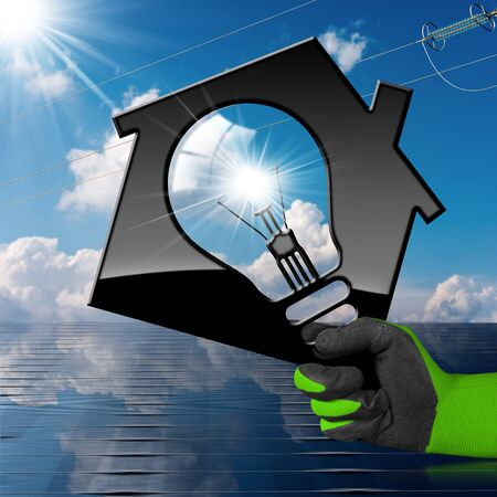solar home: Hand with work glove holding a model house with a light bulb, solar panel (3D illustration), and a power line on a blue sky with clouds (photo) - Renewable energies concept Stock Photo