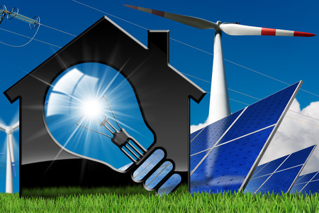 3D illustration of a model house with a light bulb, solar panels, wind turbines and a power line on a blue sky with clouds - Renewable resources concept