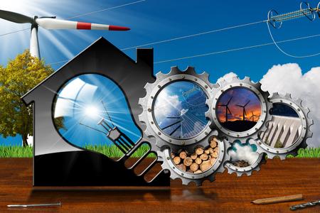 再生可能な資源 - 電球および持続可能なエネルギーをもつ歯車のグループとモデルハウスの 3 D イラストレーション。風力、太陽光、バイオマス、水 写真素材