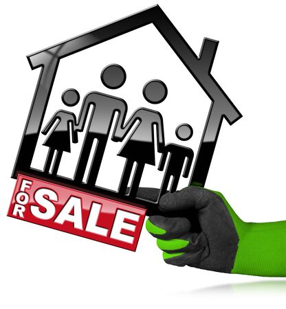 Hand with work glove holding a model house with a symbol of a family and text For Sale - 3D illustration. Isolated on a white background Stock Photo