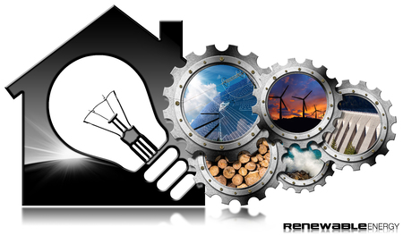 Renewable Resources - 3D illustration of a model house with a light bulb and a group of gears with the sustainable energies. Wind, solar, biomass, hydropower, power of the sea. Isolated on white Stock Photo