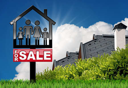 Sign in the shape of a house with a symbol of a family and text For Sale - 3D illustration. On a blue sky with a roof of a residential house