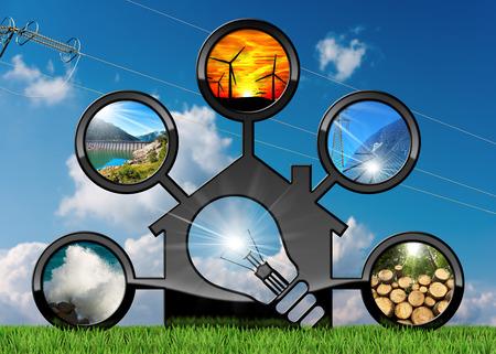 再生可能な資源 - 電球と持続可能なエネルギーのモデル家の 3 D イラストレーション。風力、太陽光、バイオマス、水力発電、海の力