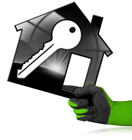 Hand with work glove holding a model house with a key (3D illustration) isolated on a white background. Construction industry concept