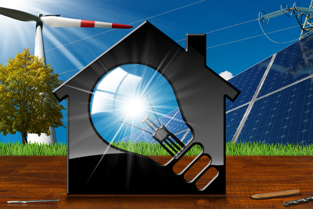 3D illustration of a model house with a light bulb, solar panels, wind turbine and a power line on a wooden desk and blue sky - Renewable resources concept
