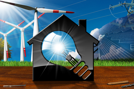 3D illustration of a model house with a light bulb, solar panel, wind turbines and a power line on a wooden desk and blue sky - Renewable resources concept