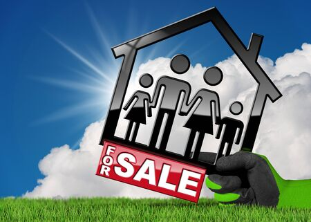 Hand with work glove holding a model house (3D illustration) with text for sale and a family. On a green grass and blue sky with clouds and sun rays