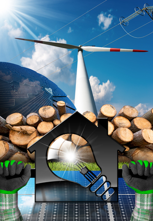 Hands with work gloves holding a model house with a light bulb (3d Illustration), solar panels, wind turbine and firewood logs - Renewable resources concept Stock Photo