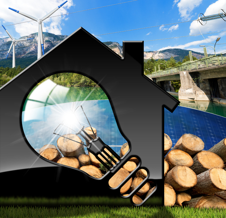 3D illustration of a model house with a light bulb, solar panels, wind turbines, firewood logs, dam for hydroelectric power - Renewable resources concept Stock Photo