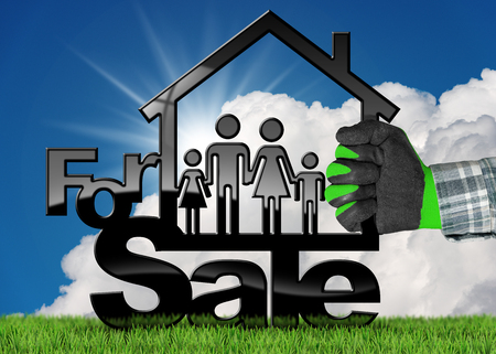 house for sale: Hand with work glove holding a model house (3D illustration) with text for sale and a family. On a green grass and blue sky with clouds and sun rays