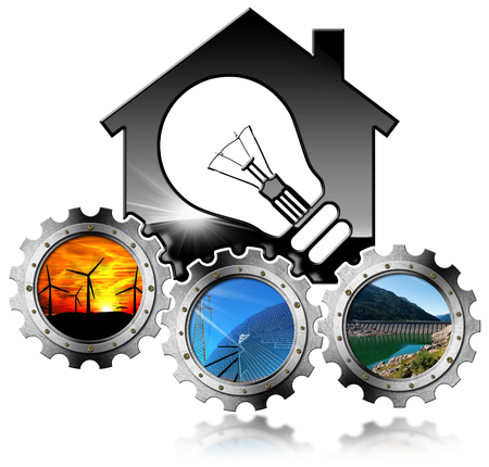 Renewable Resources - 3D illustration of a model house with a light bulb and three metal gears with wind, solar and hydropower energy. Isolated on white background Stock Photo