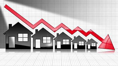 Decreasing real estate sales - 3D illustration of five house-shaped symbols and a graph falling with a red arrow Stock Photo