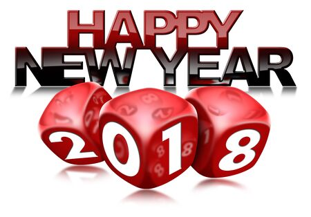 3D illustration of three red dice with the number 2018 and the happy new year text. Isolated on white background with reflections