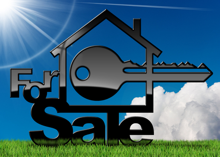 House symbol with a text for sale and a key - 3D illustration. On a green grass, blue sky with clouds and sun rays  Stock Photo