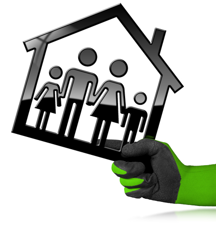 Hand with a work glove holding a black house symbol with a family - 3D illustration. Isolated on a white background