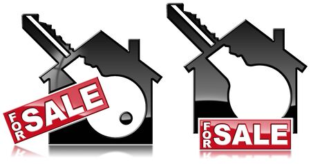 Two houses symbols with a text for sale and a key - 3D illustration. Isolated on a white background
