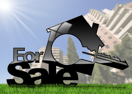 House symbol with a text for sale and a key - 3D illustration. On a green grass and blurred residential buildings