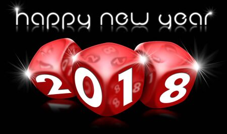 3D illustration of three red dice with the number 2018 and the happy new year text. On a black background with reflections Stock Photo