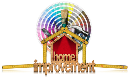 3D illustration of a home improvement symbol with work tools, wooden folding ruler and a color palette. Isolated on white background