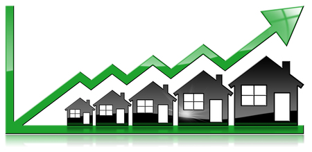 Growing real estate sales - 3D illustration of five house-shaped symbols and a graph of growth with a green arrow. Isolated on white background