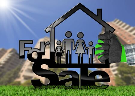 Hand with work glove holding a model house with a symbol of a family and text For Sale - 3D illustration. On a green grass and blurred residential buildings