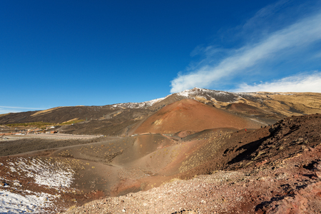 Silvestri craters and mount Etna Volcano with snow, Sicily island, Catania, Italy (Sicilia, Italia) Stock Photo