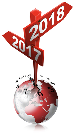 New Year 2017 2018 - 3D illustration of a crossing sign with two arrows, clock and earth globe. Isolated on white background