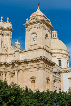 Basilica and cathedral of St. Nicholas of Myra (San Nicolo) in Sicilian baroque style. In the small town of Noto, Syracuse, Sicily, Italy Stock Photo