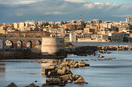 The city of Syracuse (Siracusa) seen from the Ortygia Island (Isola di Ortigia) with the Mediterranean Sea. Sicily Italy Europe