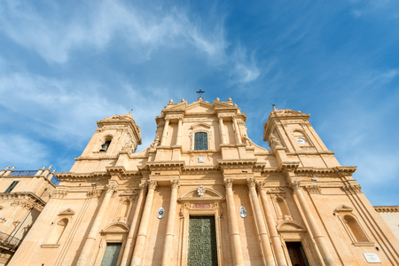 Basilica and cathedral of St. Nicholas of Myra (San Nicolo) in Sicilian baroque style. In the small town of Noto, Syracuse, Sicily island, Italy