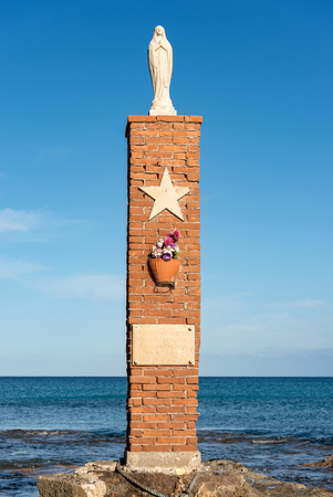 Monument in memory of the victims of the shipwreck of the F174 (night between 25-26 December 1996). Portopalo di Capo Passero, Sicily island, Syracuse, Italy, Europe Editorial