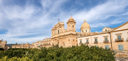 The downtown of Noto with the basilica and cathedral of St. Nicholas of Myra (San Nicolo) in Sicilian baroque style. Syracuse, Sicily island, Italy, Europe