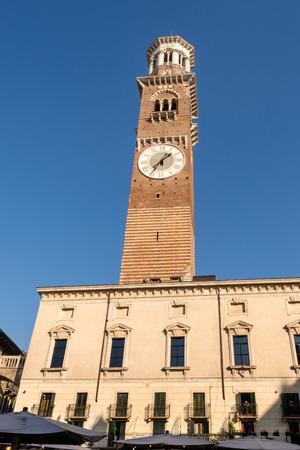 Torre dei Lamberti - Medieval tower of the Lamberti (XI century - 84 m.) Piazza delle Erbe, Verona (UNESCO world heritage site) - Veneto, Italy, Europe