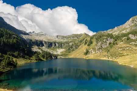 Campo Lake (Lago di Campo 1944 m.) In the National Park of Adamello Brenta.In the background the peak of Re di Castello - Trentino Alto Adige - Italy - Europe Banque d'images - 96301596