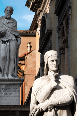 Close-up of the Dante Alighieri statue in Piazza dei Signori in Verona (UNESCO world heritage site) - Veneto, Italy, Europe