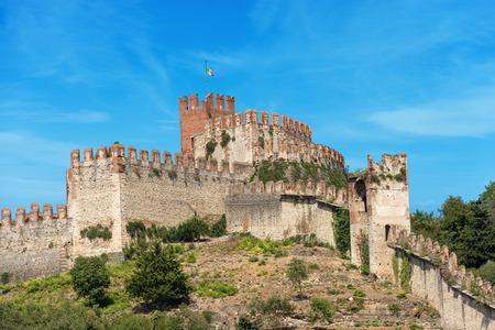 The Scala family castle (Scaligero) of the small town of Soave, X Century, Veneto, Verona, Italy, Europe Editorial